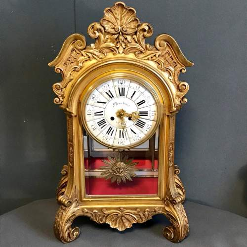 19th Century Giltwood French Mantel Clock image-1