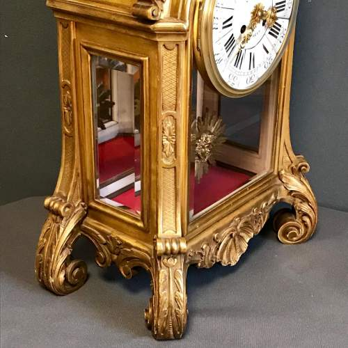 19th Century Giltwood French Mantel Clock image-5