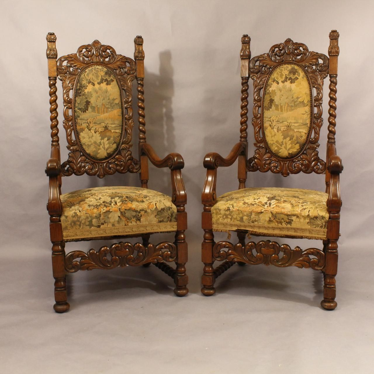 pair of carved oak armchairs antique chairs hemswell antique centres