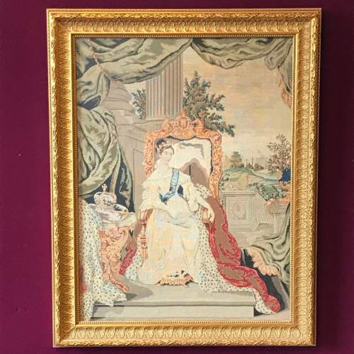19th Century Tapestry Of Queen Victoria image-1