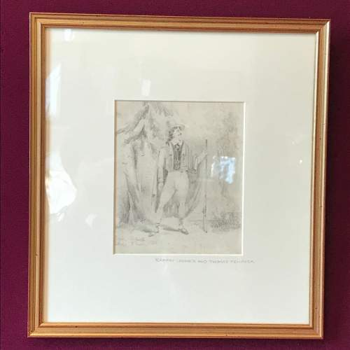 19th Century Pencil Drawing of a Gentleman image-1