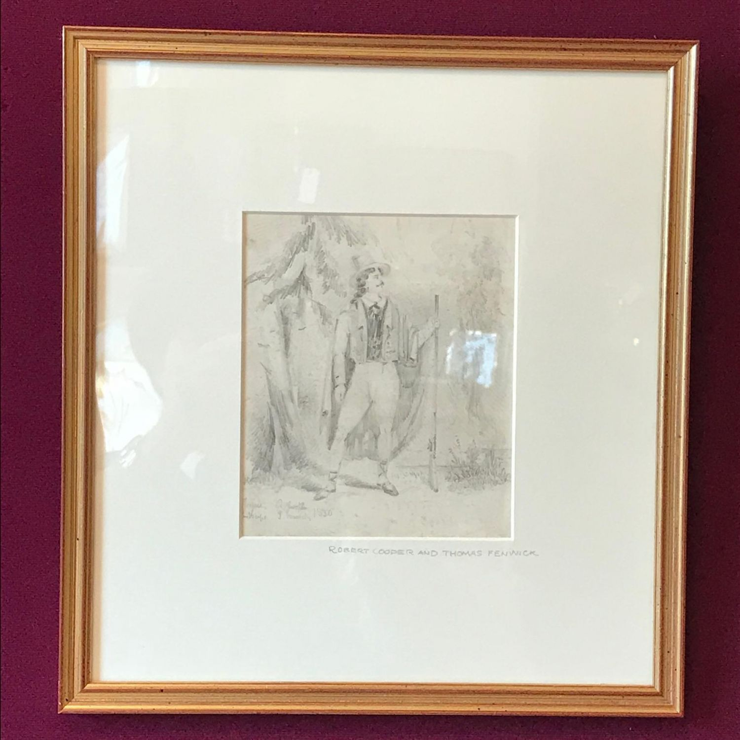 19th century pencil drawing of a gentleman