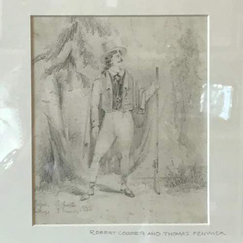 19th Century Pencil Drawing of a Gentleman image-2
