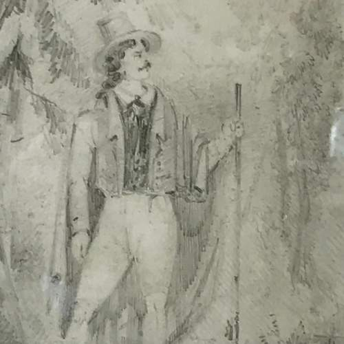 19th Century Pencil Drawing of a Gentleman image-3