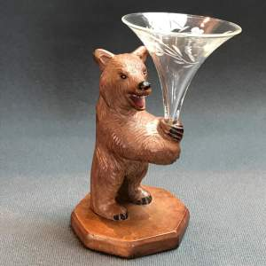 Black Forest Bear with Vase