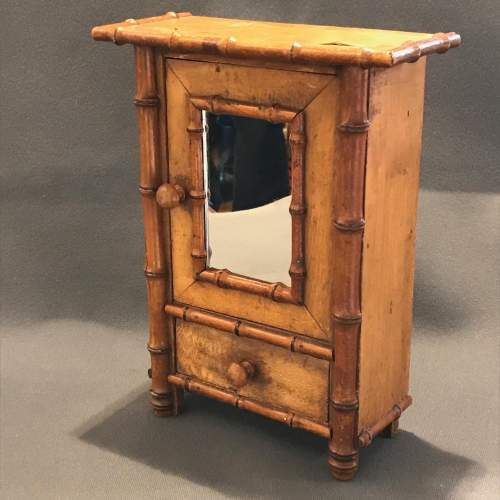 1920s French Faux Bamboo Miniature Armoire image-1