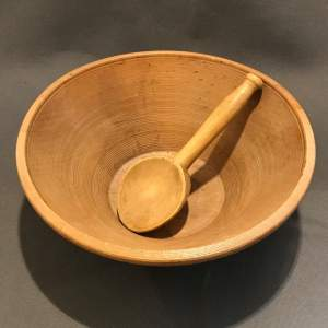 French Wooden Dairy Bowl with Spoon