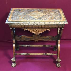 Victorian Carved Oak Side Table