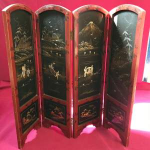 Oriental Lacquered Four Fold Screen