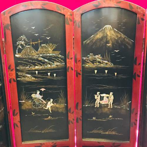 Oriental Lacquered Four Fold Screen image-2