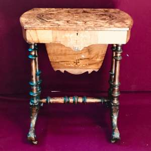 Victorian Burr Walnut Sewing Table