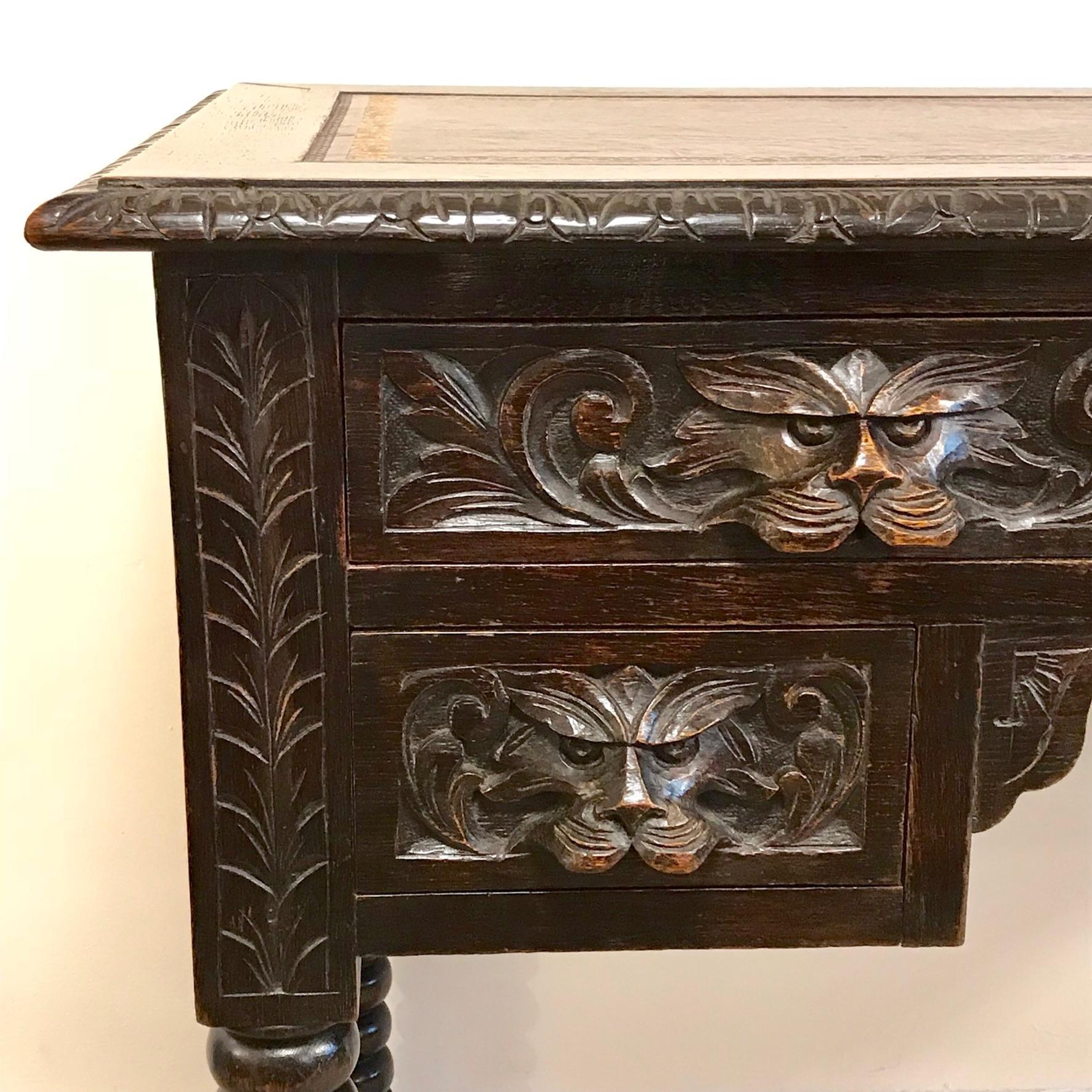 Antique Solid Oak Green Man Desk Antique Desks