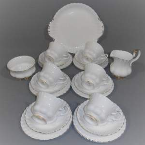 Royal Albert Val D Or Six Place White and Gold China Tea Service