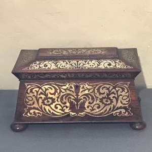 Stunning Regency Period Rosewood Tea Caddy