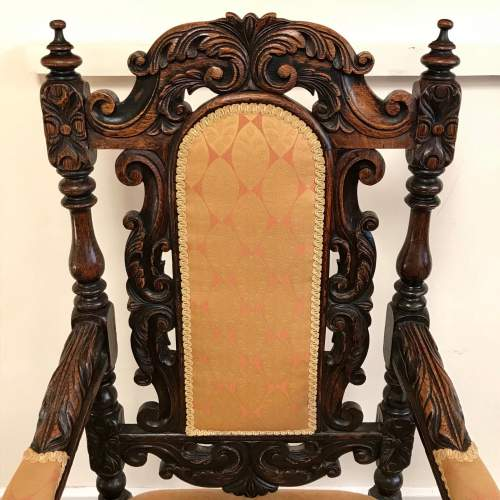 19th Century Carved Oak Elbow Chair image-2