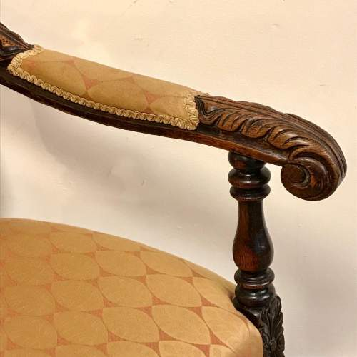 19th Century Carved Oak Elbow Chair image-4