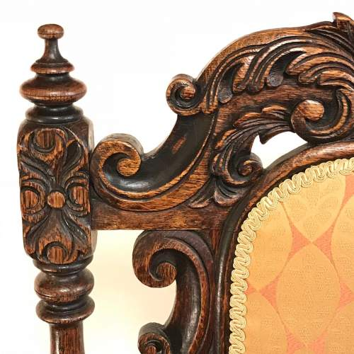 19th Century Carved Oak Elbow Chair image-6