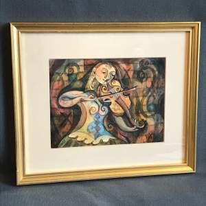 Watercolour of a Lady playing a Violin