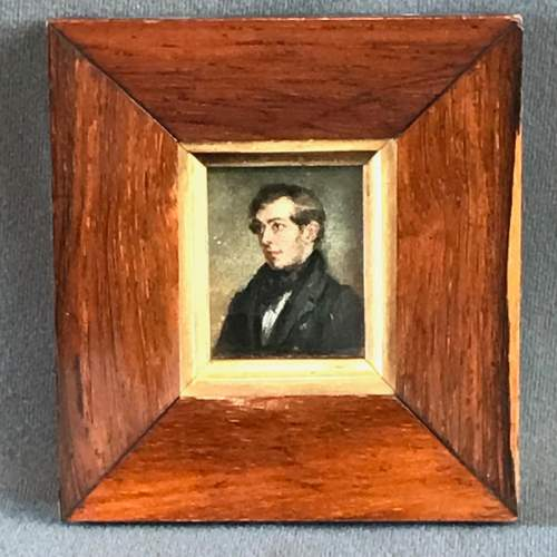 Early 19th Century Miniature Portrait Oil on Board image-1