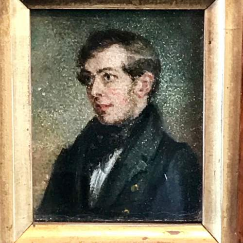 Early 19th Century Miniature Portrait Oil on Board image-2