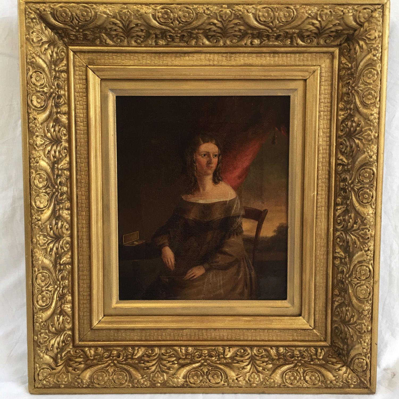 Fine 19th Century Antique Oil Painting Portrait Of A Lady