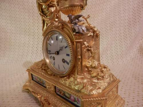 French Ormolu Clock with Porcelain Panels image-2