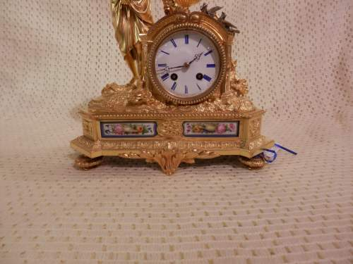 French Ormolu Clock with Porcelain Panels image-3