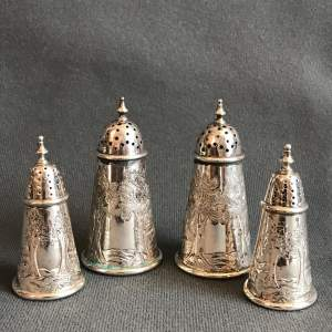 Set of a Four Antique Silver Salt and Peppers