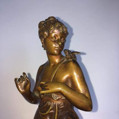 Golden Brown Library Patinated Bronze of a Nymph image-2