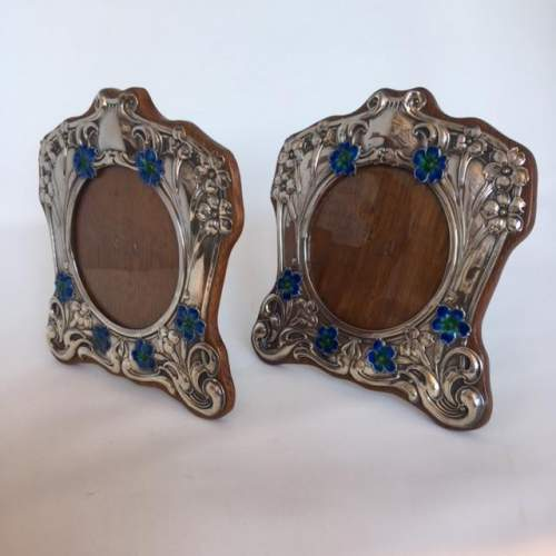 Matched Pair of Original Silver Art Nouveau Photograph Frames image-1