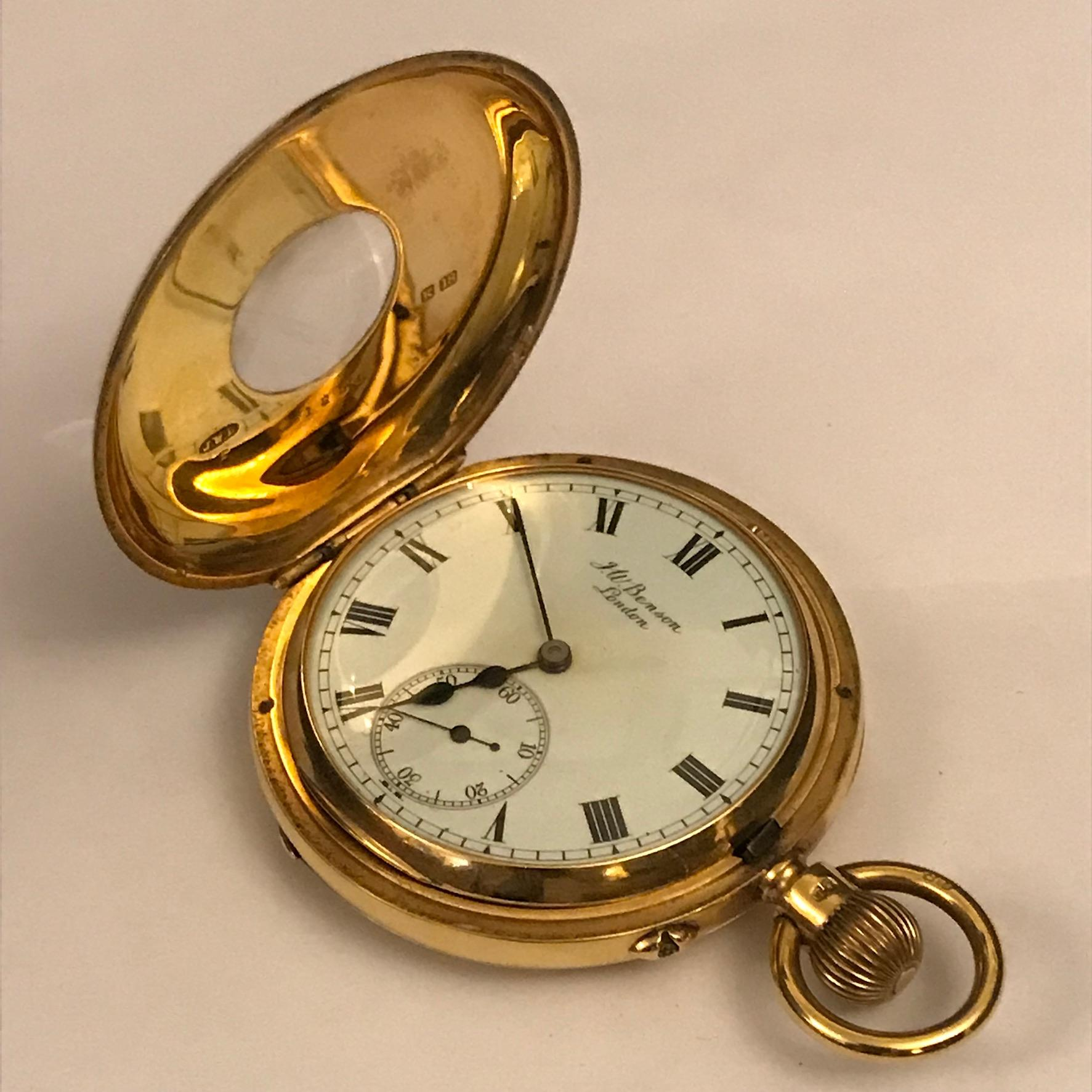 Half hunter cased 18ct gold pocket watch watches hemswell antique centres for Gold timepieces watch