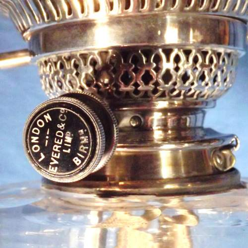 Impressive Edwardian Silver Plated Oil Lamp with Etched Shade image-2