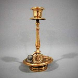 19th Century Brass Candlestick with Equestrian Decoration