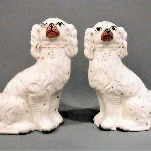 Fine Pair of Victorian Staffordshire Mantel Dogs