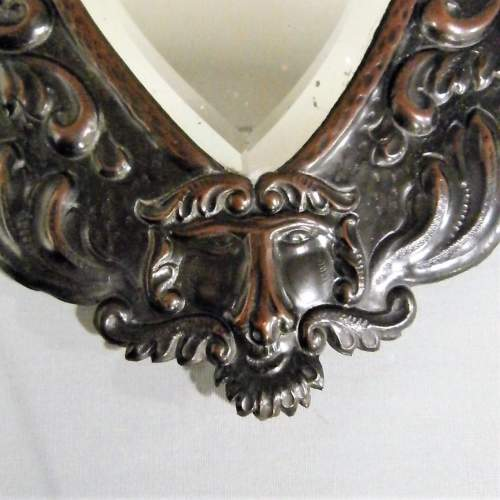 A Unique Arts and Crafts Decorative Shield Shaped Mirror Circa 1910 image-2