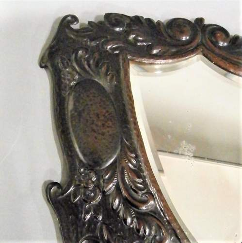A Unique Arts and Crafts Decorative Shield Shaped Mirror Circa 1910 image-3