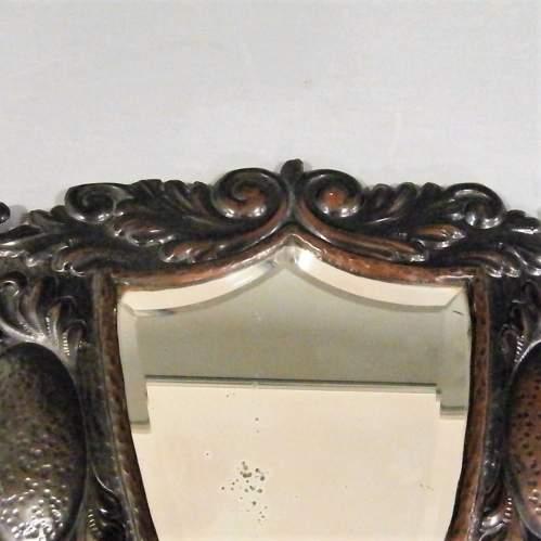 A Unique Arts and Crafts Decorative Shield Shaped Mirror Circa 1910 image-4