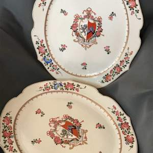 Pair of Chinese Armorial Plates