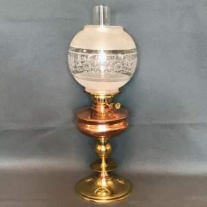 Art Nouveau Copper and Brass Oil Lamp