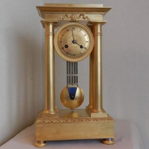 Gilt Bronze French Four Pillar Clock image-1