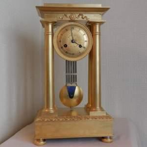 Gilt Bronze French Four Pillar Clock