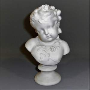 A Charming Parian Ware Bust of Spring