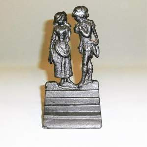 An Unusual Victorian Doorstop Cast as a Courting Couple Circa 1880