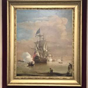 18th Century Oil Painting of a Maritime Scene