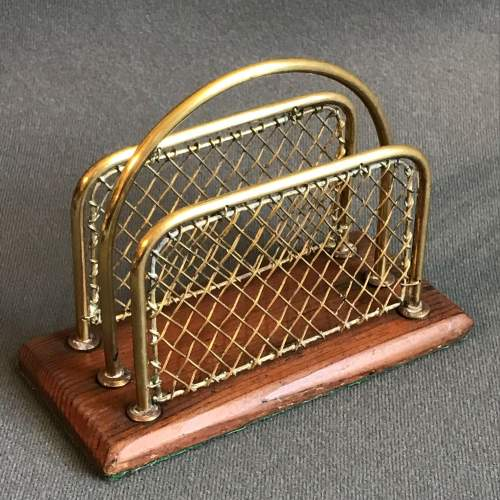 Brass and Wood Letter Rack image-1