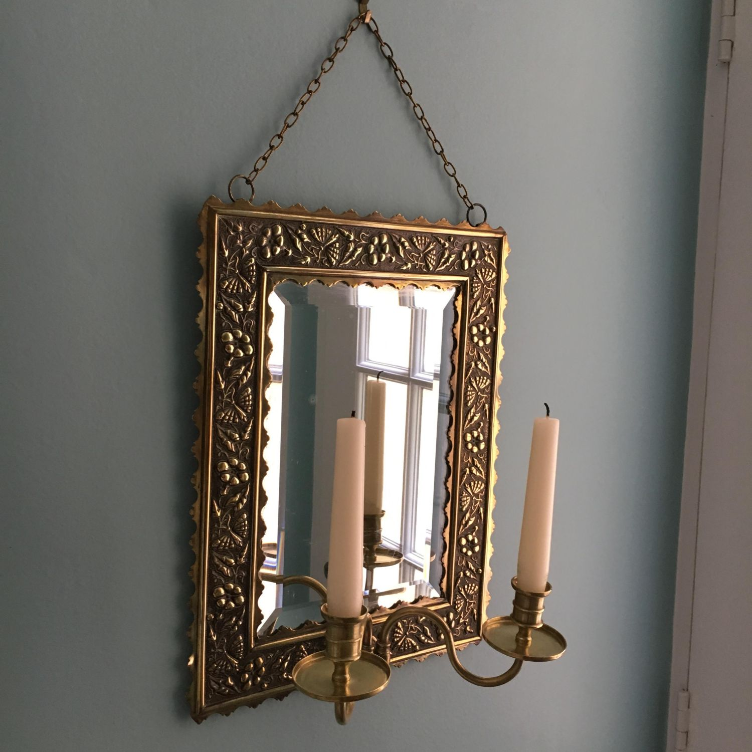 Decorative Victorian Aesthetic Brass Girandole Mirror