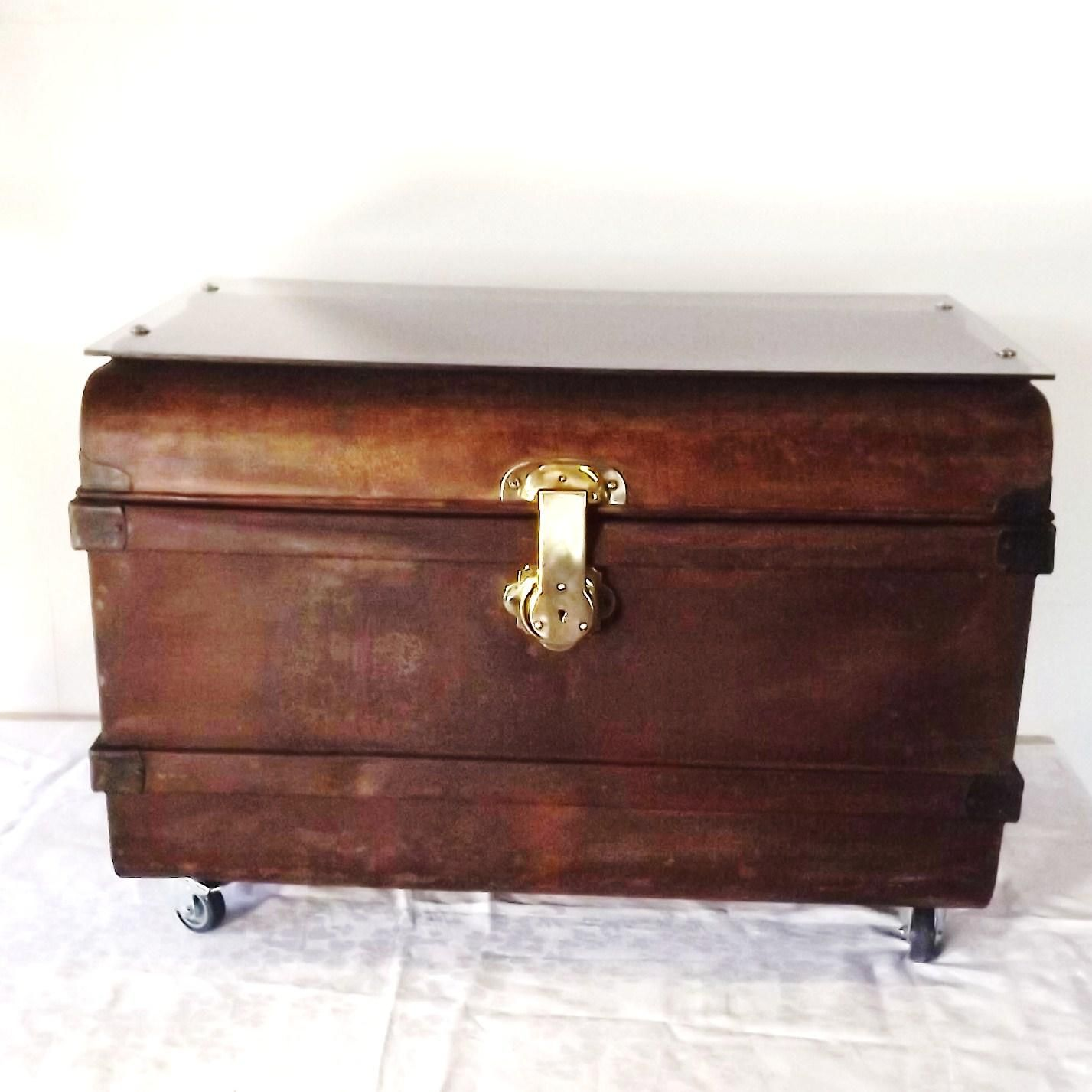 Vintage Upcycled Toleware Steamer Metal Trunk Coffee Table