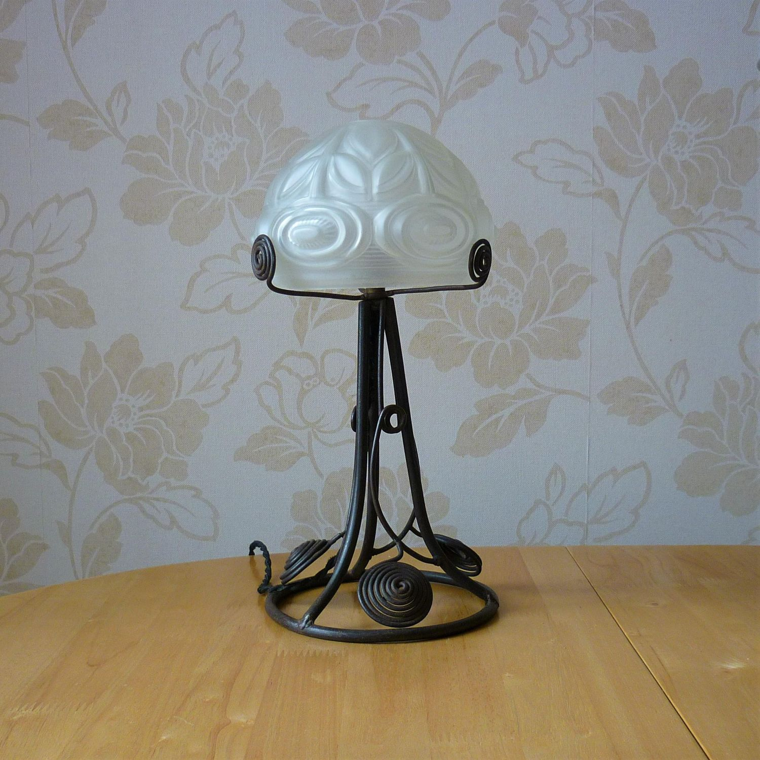 French Art Deco Wrought Metal Table Lamp With Etched Glass ...