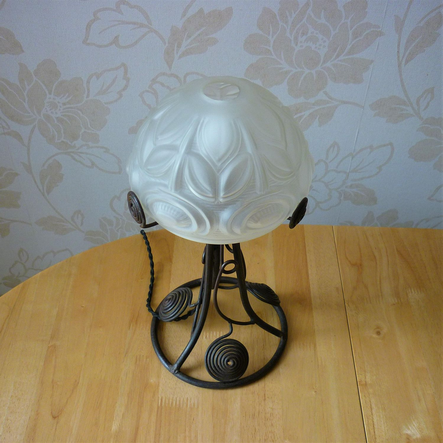 Etched Metal Lamp Shade: French Art Deco Wrought Metal Table Lamp With Etched Glass