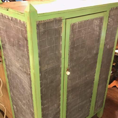 1930s English Green Painted Pine Meat Food Cupboard image-1